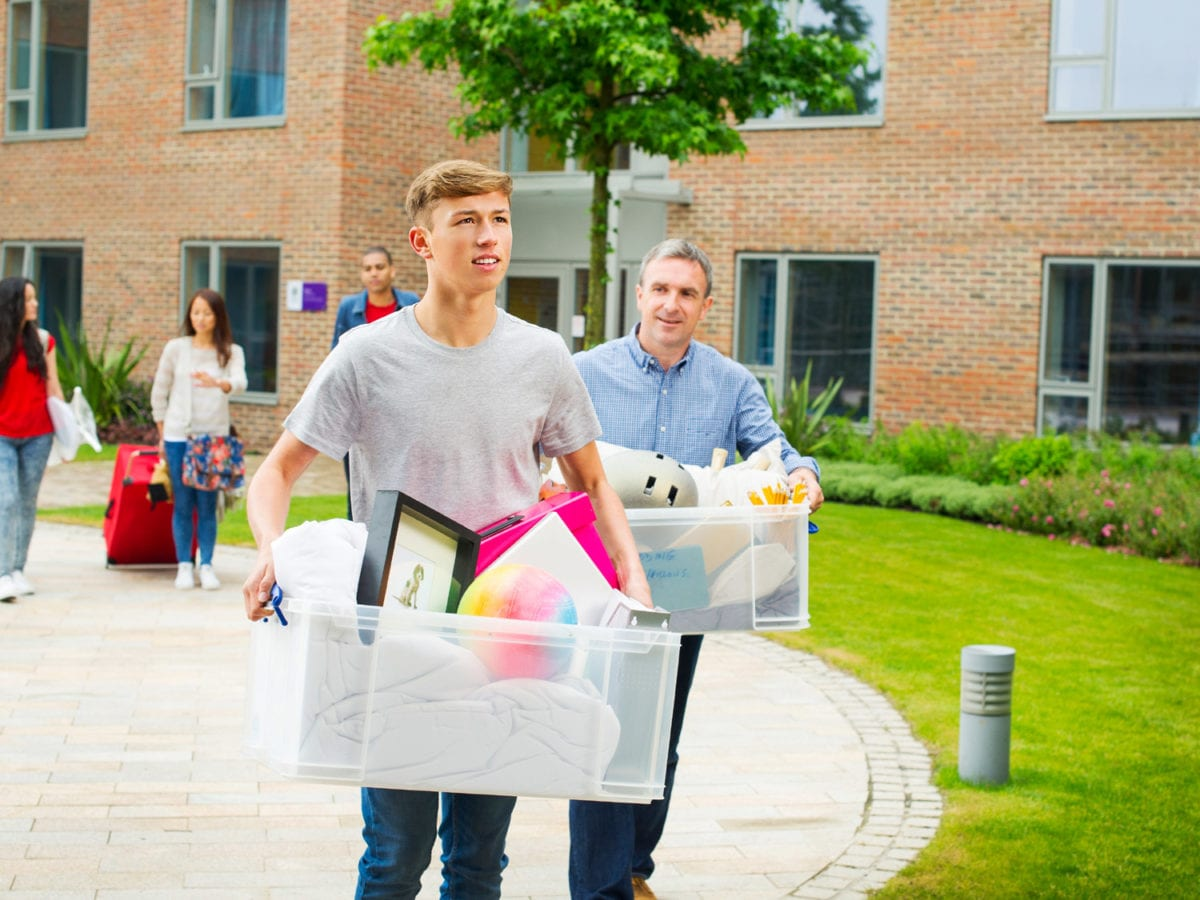 College student moving into dorm